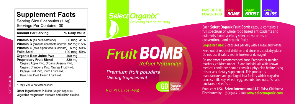 Select Organix Fruit Bomb Label